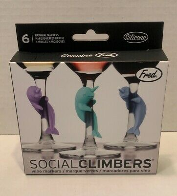 Set of 6 Fred 5217610 SOCIAL CLIMBER Narwhal Beverage Wine Glass Charms Red Fred /& Friends