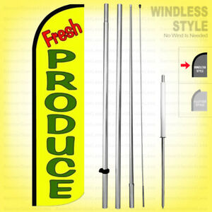 FRESH PRODUCE Windless Swooper Flag Kit 15/' Feather Banner Sign  yq-h