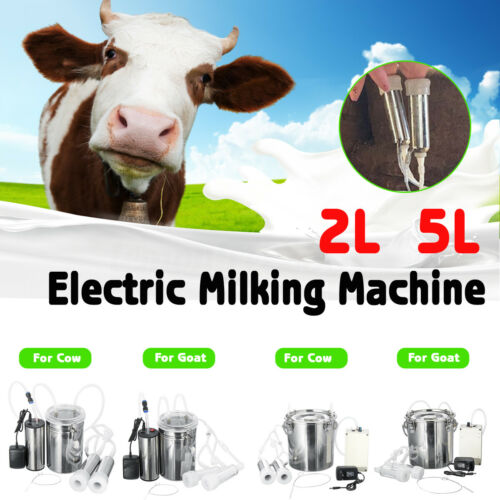 12V Tragbare Elektrische Melken Melkmaschine 5L 2L für Kuhziege DE F