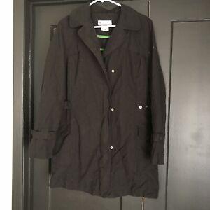 Columbia-Trench-Coat-Jacket-Black-Womens-Large-Water-Resistant-Rain