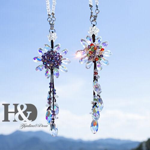 Car Hanging Decor 2pcs Sun Flowers Crystal Pendants Rainbow SunCatcher Garden