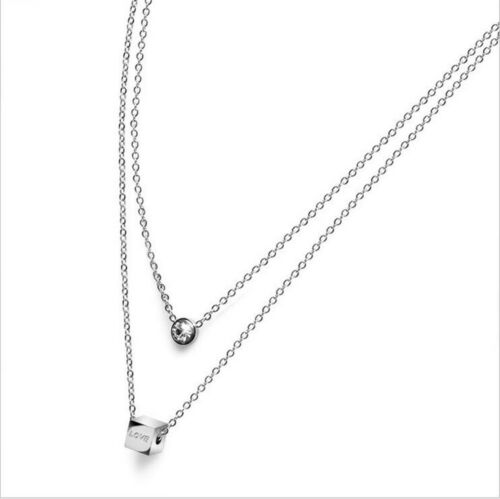 RoseCharm Beautiful Stainless Steel Black CZ Thin Pendant Necklace