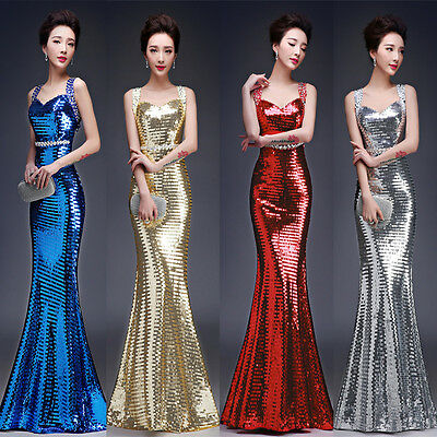 Plus Size Sequins Mermaid Evening Dresses Formal Prom Party Pageant Ball Gown