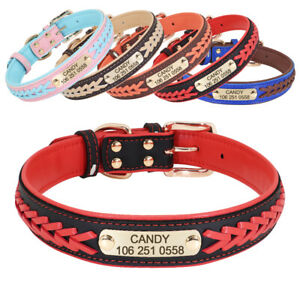 Custom-Braided-Leather-Padded-Dog-Collars-Personalised-Pet-Name-ID-Tag-5-Colours