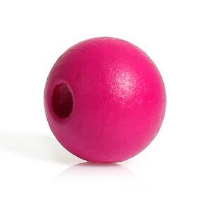 200-Runde-Zypresse-Holzperlen-Pink-10-mm-Perlen-Holz-Stueck-Loch-Basteln-Diy