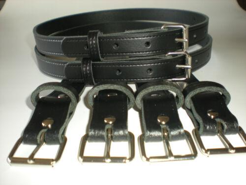Vintage pram real leather suspension straps in black