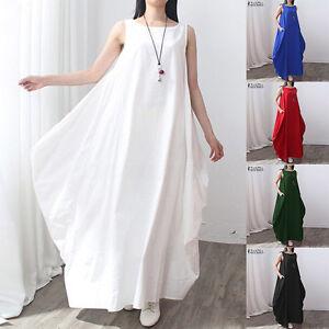 Women-Crew-Neck-Summer-Sleeveless-Loose-Long-Maxi-Shirt-Dress-Baggy-Kaftan-Robe