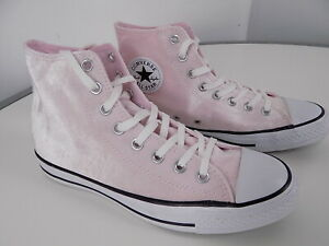 Details about EUC Converse Velvet Chuck Taylor Pink High Top Sneakers, size 10 (euro 41.5)