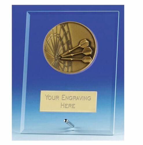 Vision Darts Glass Award Plaque 4.25 Inch 10.5cm FREE Engraving