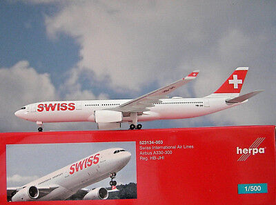 Herpa Wings 1:500 Airbus a330-300 Swiss HB-Jhi 523134-003 modellairport 500