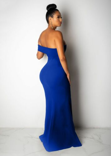 Women Boat Neck Strapless Side Slit Bodycon Cocktail Evening Party Long Dress