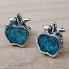 Apple Turquoise Earrings - 925 Sterling Silver Fruit Post Earrings Teacher NEW