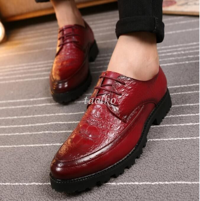 Fashion Mens PU Leather Lace Up Brogues Casual Chunky Heels Spring shoes Size