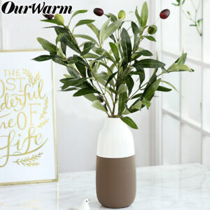10xArtificial-Olive-Leaves-Olive-Tree-Branch-Plant-Silk-Green-Leaf-Garland-Decor