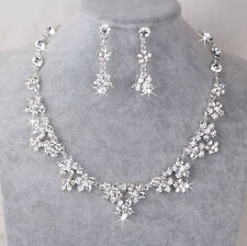 Uk Silver Wedding Bride Crystal Diamond Flower Necklace Earrings Set Jewelry