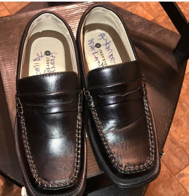 Preowned Easy Strider boy's black penny loafers 1M | eBay