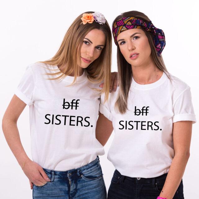 """Best Friends BFF FREUNDINNEN Besties Damen T-Shirt Shirts im Set /""""SISTER/"""""""