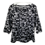 thumbnail 1 - Ann Taylor Womens Top Scoop Neck Puff Sleeve Blouse Black White Work Size Medium