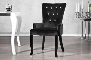 Stuhl-Sessel-DIMENSION-schwarz-Strass-Samt-Look-Barock-Design-Esszimmer-NEU