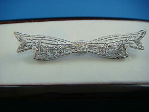 !ANTIQUE ART-DECO RIBBON FILIGREE BROOCH WITH OLD CUT DIAMONDS 3.5 GRAMS
