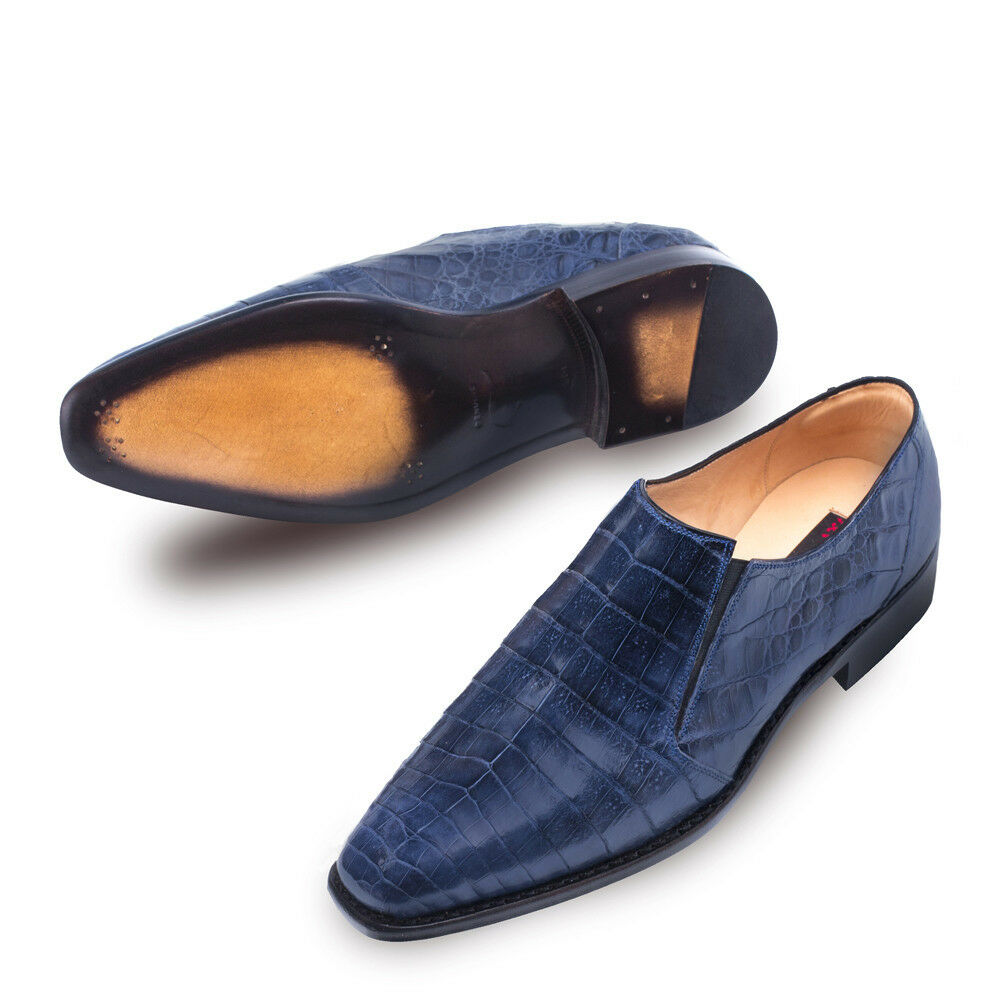 NEW Mezlan Genuine Crocodile Leather Dress scarpe Loafers Slip On Gere Navy blu