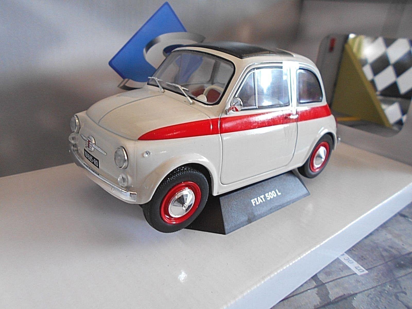 Fiat 500 L  SPORT  Spécial modèle 1968 Blanc + Rouge SOLIDO métal neuf 1 18