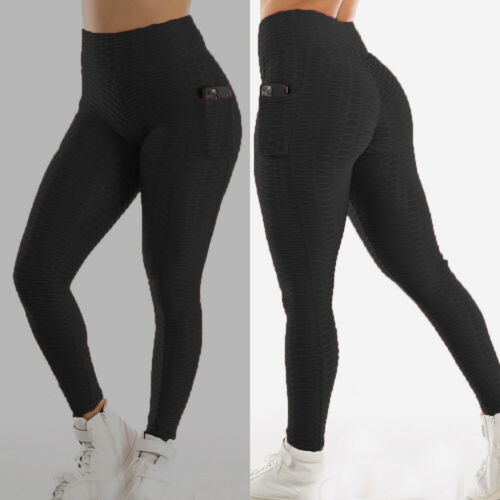 Womens High Waist Yoga Pants Anti-Cellulite Leggings Ruched Gym Stretch Trousers