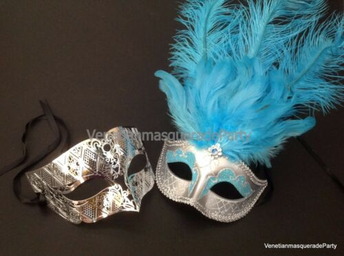 Venetian Masquerade Silver Couple Dress up Party Mask Bachelor Costume Party