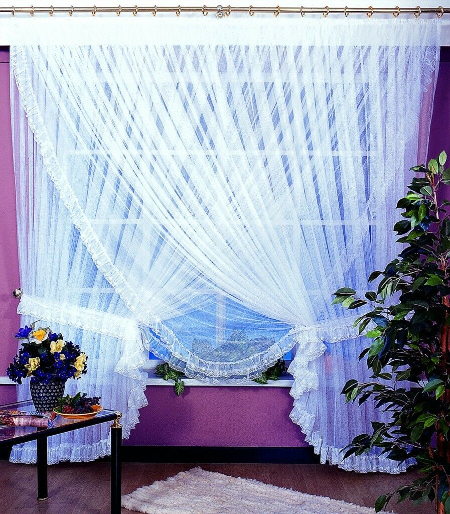 READY MADE VERY BIG LUXURY Weiß voile NET CURTAIN AMAZING FOR YOU