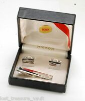 Vintage Cuff Link Tie Clip Set Hickok Silver Tone Metal Jewelry