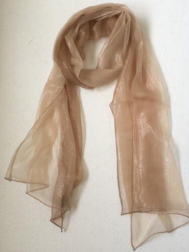 Silk Chiffon Long Gradient Scarf with Metallic Thread Shawl Wrap Stole 180x50cm