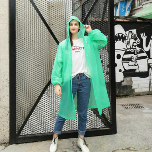 PE Hooded Jacket Men Women Poncho Waterproof Rainwear Raincoat Rain  Coat NEW
