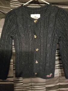 Details about Hollister Blue Button Down Cardigan Sweater Girls Sz S