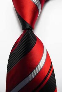 New-Classic-Striped-Red-Black-White-JACQUARD-WOVEN-100-Silk-Men-039-s-Tie-Necktie