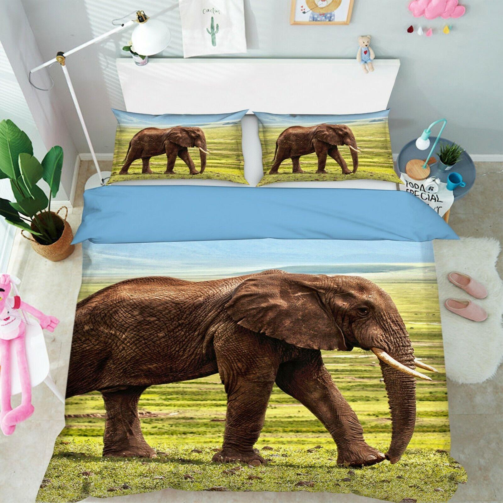 3D Elephant Grassland I27 Animal Bed Pillowcases Quilt Duvet Cover Queen King An
