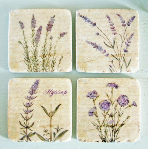 Boxed set of four lavender flower print  tile style drinks coasters