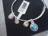 Alex And Ani March Birthstone Aquamarine Silver Charm Bangle Card & Box