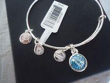 Alex and Ani MARCH Birthstone AQUAMARINE Silver Charm Bangle NWT Card & Box