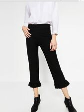 Size  L Zara Faux Leather Frilled Cropped Trousers RRP 49.95 BNWT