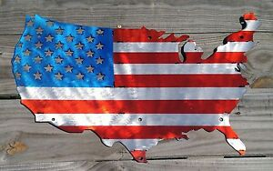 Image Is Loading American Flag United States Map Stainless Steel Metal