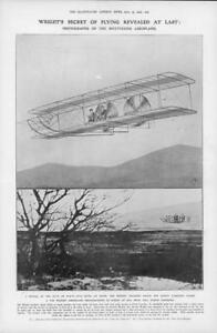 1908-Antique-Print-INVENTIONS-Wright-Flying-Aeroplane-Kill-Devil-Hill-26