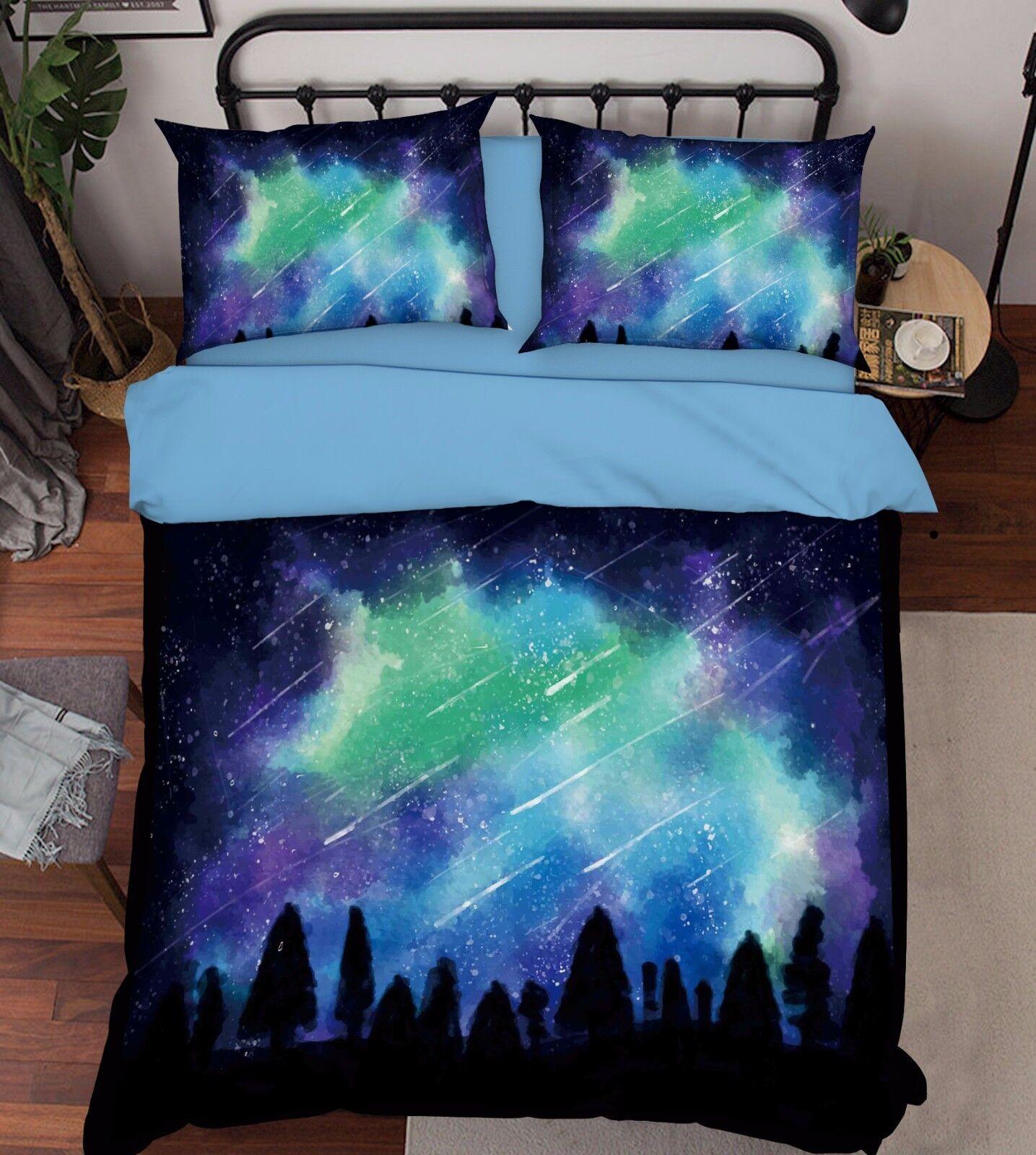 3D Forest Meteor Shower 46 Bed Pillowcases Quilt Duvet Cover Set Single Queen CA