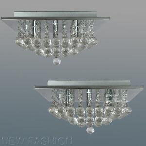 Image Is Loading Pair Of Modern Square Genuine Crystal Chandelier Ceiling