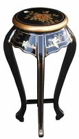 Mother Of Pearl Oriental Furniture - Black Lacquer Plant Stand