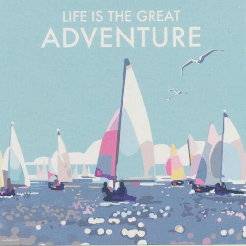 La vie est la grande aventure voile ART DECO Blanc Fête des Pères Anniversaire Carte