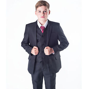 Boys-suits-boys-costume-noir-5-pieces-fete-de-mariage-formel-tenue-0-3M-14Yrs