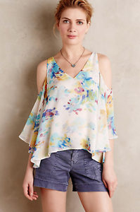 NEW Anthropologie Maeve Cold Shoulder WaterFarbe Silk Top Blouse  Sz S
