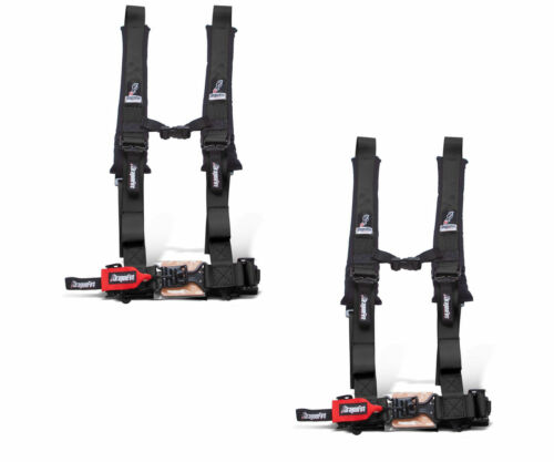 """Dragonfire Racing Black Pair H-Style 4 Point 2/"""" Seat Belt Harnesses Universal"""