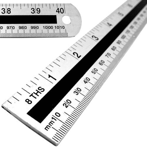 "1 METRE 1000mm LONG METAL RULER 40/"" MEASURE Carpenter//School Rule DOUBLE SIDED"