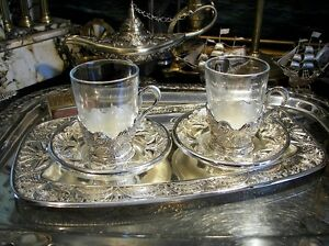 Vintage-Silverplated-Set-of-2-Glasses-Saucers-Tray-Ornate-Gift-Free-Engraving